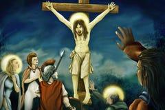 Kruisiging van Jesus - het Digitale Schilderen Royalty-vrije Stock Afbeelding