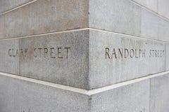 Kruising van Clark en Randolph Street Stock Foto's