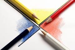kruising van kleurpotlood Stock Fotografie