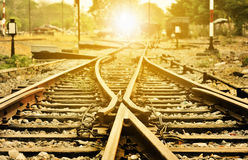 Kruising van oude lokale spoorwegsporen Stock Foto's