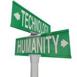 Kruising van Technologie en het Mensdom Modern Digitaal tijdperk versus Na vector illustratie