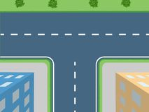 Kruispunt met struiken en huizen vector illustratie