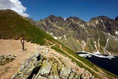 Kruispunt van bergenwegen in de zomer Stock Foto