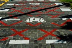 Kruispunt voor trams Stock Afbeeldingen