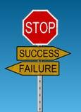 Kruispunten: Succes of Mislukking Stock Afbeelding