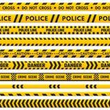 Kruist de politie zwarte en gele lijn niet Barricade grens door gevaarsband die wordt geïsoleerd De barrièrestrepen van de misdaa vector illustratie