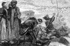 Kruisvaarders die daar eerste mening van Jeruzalem ontvangen Royalty-vrije Stock Afbeelding