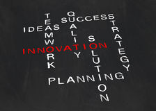 Kruiswoordraadsel bij de innovatie Stock Foto's
