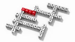 Kruiswoordraadsel met DACA-het concept van de sleutelwoordenimmigratie Stock Foto's