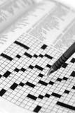 Kruiswoordraadsel met Pen Royalty-vrije Stock Afbeelding