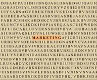 Kruiswoordraadsel-op de markt brengt Stock Foto