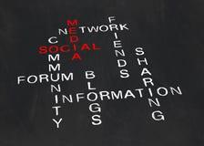 Kruiswoordraadsel op sociale media Royalty-vrije Stock Afbeelding