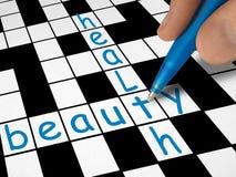 Kruiswoordraadsel - schoonheid en gezondheid stock afbeelding