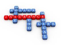 Kruiswoordraadsel van verzekeringspolisconcept Royalty-vrije Stock Afbeeldingen