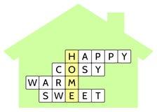 Kruiswoordraadsel voor het Gelukkige woordhuis en de woorden, Comfortabel, Warm, Zoet Stock Fotografie