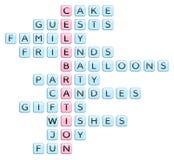 Kruiswoordraadsel voor op viering betrekking hebbende woorden Stock Foto's
