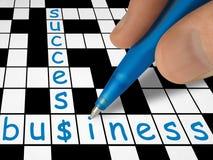 Kruiswoordraadsel - zaken en succes Stock Foto