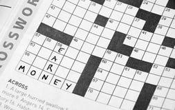Kruiswoordraadsels: Verdien Geld Royalty-vrije Stock Afbeeldingen