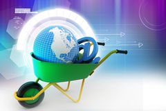 Kruiwagen dragende aarde en e-mailteken Royalty-vrije Stock Afbeelding
