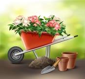 Kruiwagen met bloemen royalty-vrije illustratie