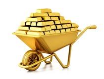 Kruiwagenhoogtepunt van goud 3D Illustratie stock illustratie