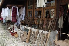 KRUJE, ALBANIA - June 2018: Traditional Ottoman market in Kruja, birth town of National Hero Skanderbeg. Flea market in. June 2018: Traditional Ottoman market in stock photography