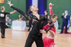 Kruk Timophey und lateinamerikanisches Programm Konopleva Diana Perform Youth-2 über nationale Meisterschaft lizenzfreie stockbilder