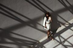 Kruk z włosami indyjska dama pozuje w geometrical cieniach metali stractures Fotografia Royalty Free