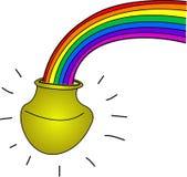 Kruka av guld med regnbågen Royaltyfria Bilder