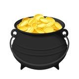 Kruka av guld- mynt som isoleras på vit också vektor för coreldrawillustration Arkivfoton