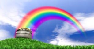 Kruka av guld och regnbågen på den gräs- kullen Royaltyfria Bilder