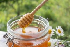 Kruka av Honey And Wooden Stick Are på en tabell utomhus royaltyfria bilder