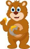 Kruka för honung för gullig tecknad filmbjörn hållande Royaltyfri Fotografi
