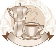 kruka för kaffekopp Fotografering för Bildbyråer