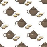 Kruka för te för modell för varmt för frukost för kokkärltekannadrink redskap för kök sömlös med två koppar vektorillustration Arkivfoton