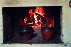 Kruka i ugnen och ugnsgaffeln Royaltyfria Bilder