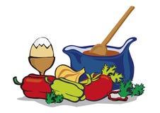 Kruka med färgrika grönsaker och matlagningskeden Royaltyfria Foton