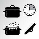 Kruka och laga mat tidmätaresymbolen vektor stock illustrationer
