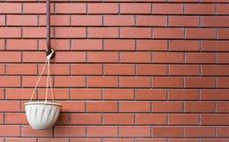 Kruka som hänger på en tegelstenvägg Royaltyfria Foton