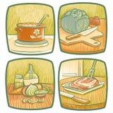 Krukar och panorerar stock illustrationer
