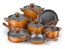 Krukar och panorerar Uppsättning av den matlagningköksgeråd och cookwaren stock illustrationer