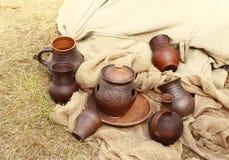 Krukmakeri av de tidiga mittåldrarna Arkivfoto