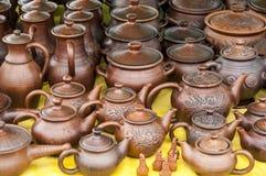 Krukmakeri lergods, clayware, lerkärl, stengods royaltyfri fotografi