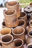 Krukmakeri lergods, clayware, lerkärl, stengods arkivfoto