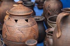 Krukmakeri lergods, clayware, lerkärl, stengods arkivfoton