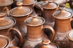 Krukmakeri lergods, clayware, lerkärl, stengods royaltyfri foto