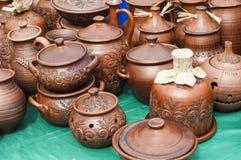 Krukmakeri lergods, clayware, lerkärl, stengods royaltyfria foton