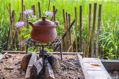 Krukmakeri som lagar mat ris Royaltyfri Foto