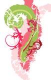 Krul en Bloemenontwerpillustratie Stock Afbeelding
