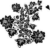 Krul met grote zwarte bloemen Royalty-vrije Stock Fotografie